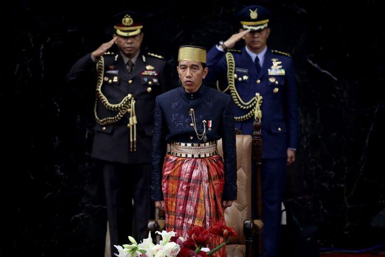 Presiden Joko Widodo saat hadir dalam sidang tahunan Majelis Permusyawaratan Rakyat Republik Indonesia Tahun 2017 di Kompleks Parlemen, Senayan, Jakarta, Rabu (16/8/2017). Presiden Joko Widodo menyampaikan pidato, yakni pidato kenegaraan dalam rangka Hari Ulang Tahun RI ke 72.
