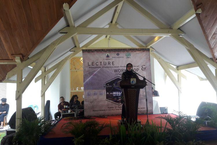 Bupati Lebak Iti Octavia Jayabaya saat peringatan satu tahun Museum Multatuli di Rangkasbitung, Kamis (21/2/2019). Iti menyebut tahun ini Kabupaten Lebak menargetkan satu juta kunjungan wisatawan.