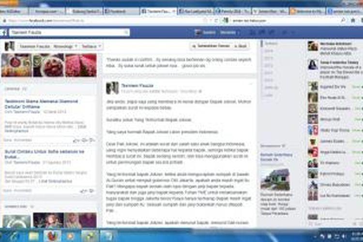 Surat terbuka puteri Amien Rais, Tasniem Fauziah, untuk capres Joko Widodo yang diposting di akun Facebook