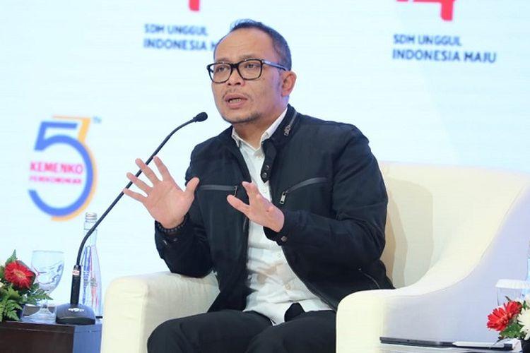 Hanif Dhakiri saat menjadi pembicara seminar nasional bertema Kebijakan Sektor Tenaga Kerja untuk mendukung Transformasi Ekonomi dalam rangka 53 Tahun Kemenko Perekonomian, Jakarta, Jumat (9/8/2019).