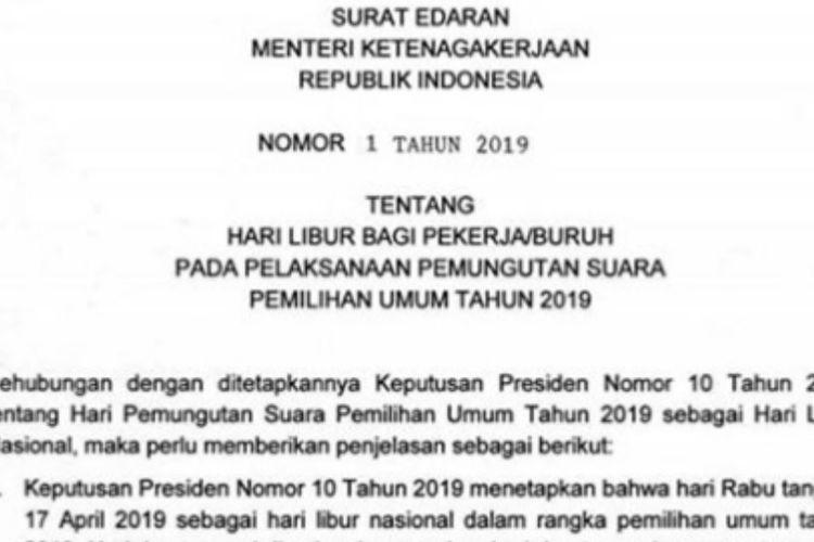 Resmi Menaker Terbitkan Surat Edaran Hari Libur Pemilu 2019