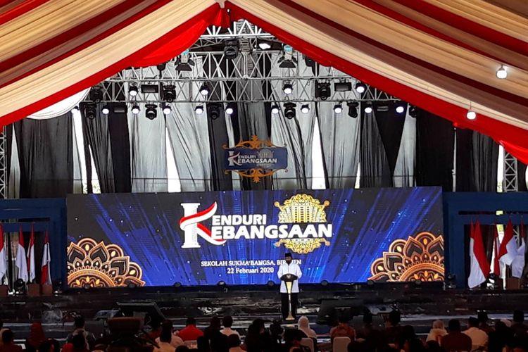 Pembina Yayasan Sukma Bangsa, Surya Paloh, memberi sambutan dalam  acara Kenduri Kebangsaan di Sekolah Sukma Bangsa, Bireun, Aceh, Sabtu (22/2/2020).