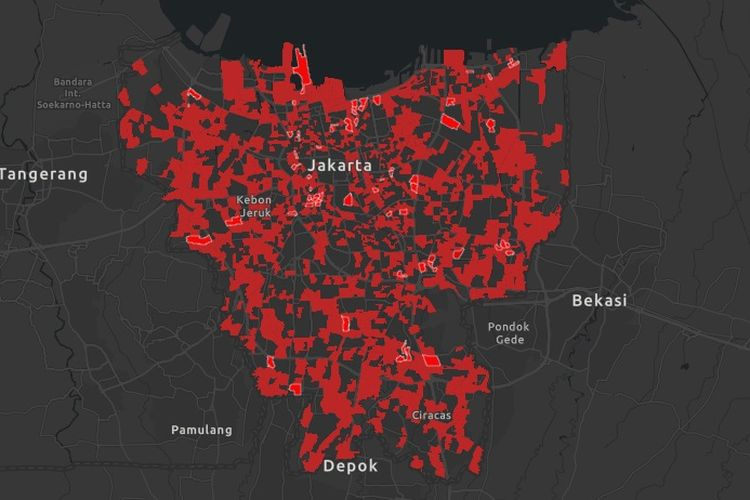 Peta sebaran RW zona merah (rawan penyebaran Covid-19) dan zona (domisili pasien) positif Covid-19 di Jakarta pada 8 Juni 2020.