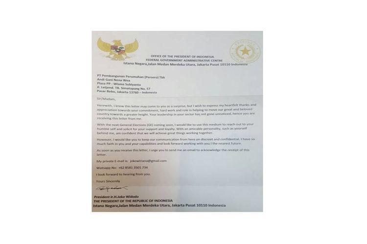 Surat yang beredar di media sosial mengatasnamakan Presiden Joko Widodo. Pihak Istana memastikan surat ini hoaks.