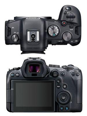 Kamera mirrorless full-frame Canon EOS R6, tampak atas dan belakang