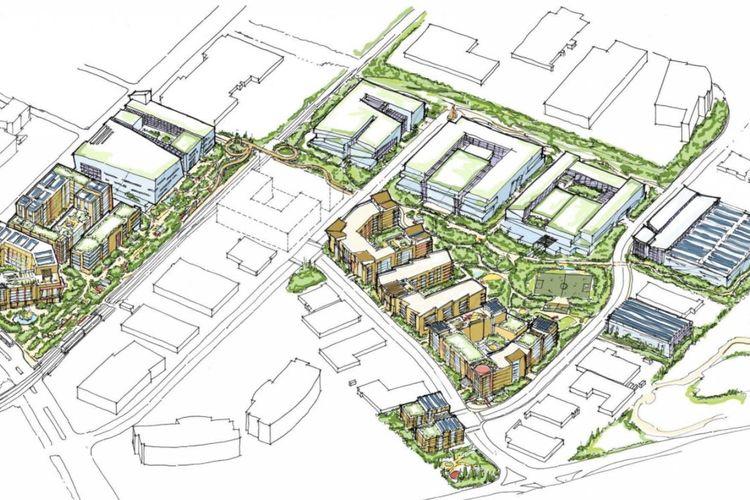 Ilustrasi Middlefield Park Master Plan dalam tampilan bird-eye view.