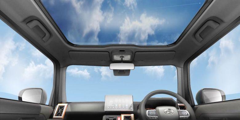 Tampak interior Daihatsu Taft Concept yang menggunakan panoramic roof