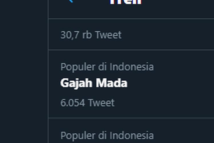 Tangkapan layar topik Gajah Mada yang masuk dalam Trendind Topik Twitter pada Sabtu, (12/12/2020).