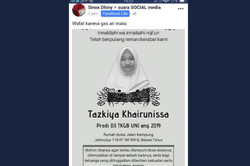 Viral Mahasiswi UNJ Meninggal karena Gas Air Mata, Ini Faktanya...
