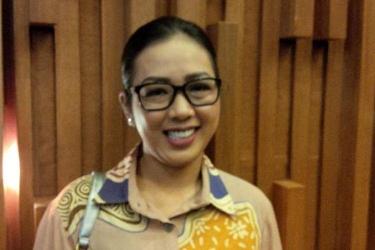 Penyanyi dan pembawa acara Soimah Pancawati (35) diabadikan usai jumpa pers acara DAcademy Asia, di SCTV Tower, Senayan, Jakarta Pusat (13/11/2015).