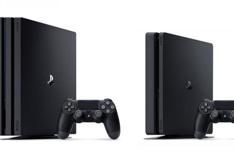 PlayStation 4 Pro (kiri) dan PlayStation 4 versi ramping