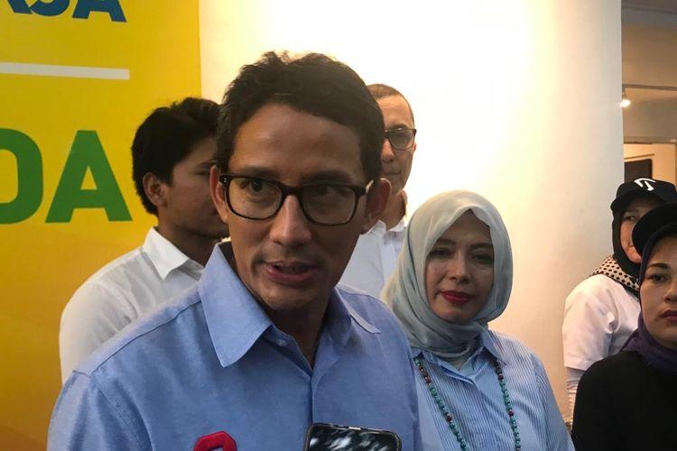 Calon wakil presiden nomor urut 02 Sandiaga Uno saat ditemui di Rumah Siap Kerja, di Kebayoran Baru, Jakarta Selatan, Rabu (24/4/2019).