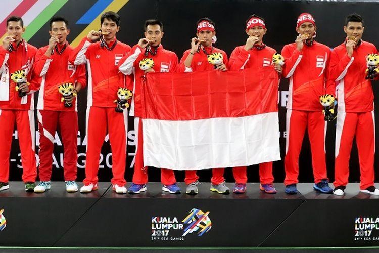 Indonesia meraih medali emas beregu putera bulu tangkis SEA Games XXIX/2017