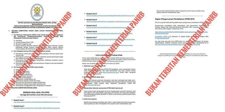 Hoaks dokumen CPNS yang seolah dikeluarkan oleh Kementerian PANRB.