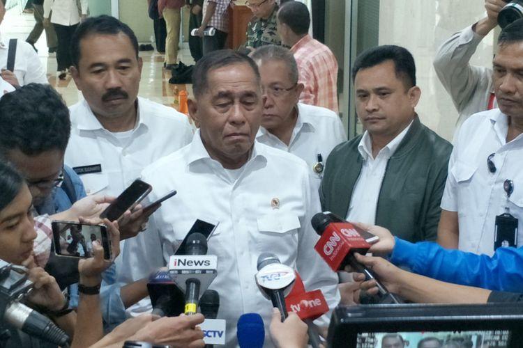 Menteri Pertahanan Ryamizard Ryacudu saat ditemui di Kompleks Parlemen, Senayan, Jakarta, Rabu (23/1/2019).