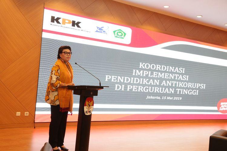 Wakil Ketua KPK Basaria Panjaitan dalam Koordinasi Implementasi Pendidikan Antikorupsi di Perguruan Tinggi di Gedung Pusat Edukasi Antikorupsi, Jakarta, Rabu (15/5/2019).