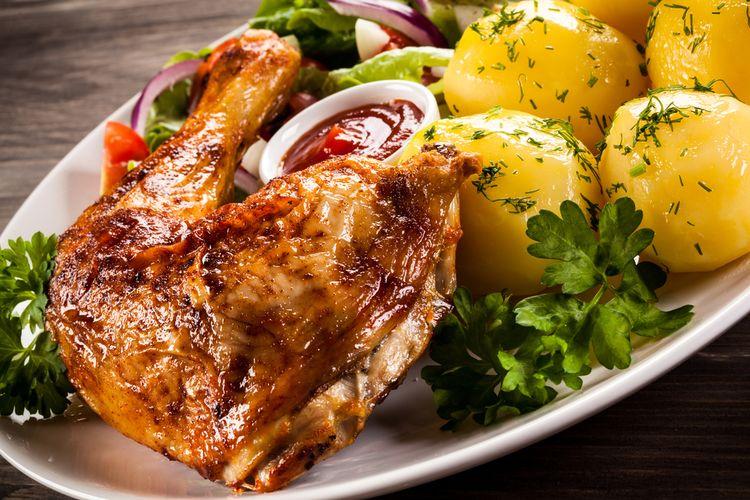Ilustrasi ayam panggang, kentang, dan sayuran