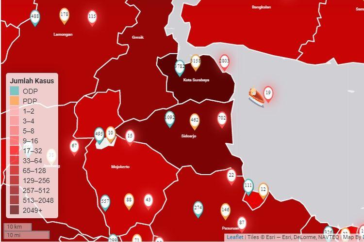 Peta sebaran Covid-19 Jawa Timur, 3 Juni 2020.
