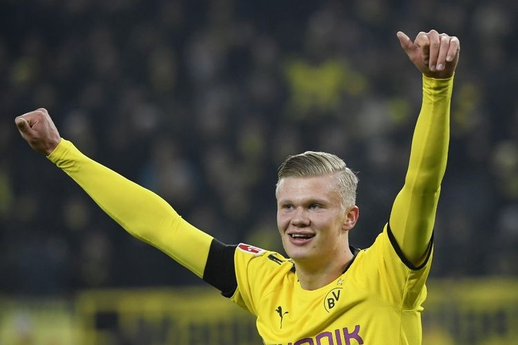 Erling Braut Haaland merayakan gol pada laga pekan ke-19 Bundesliga antara Borussia Dortmund vs FC Koln di Stadion Signal Iduna Parka, Jumat 24 Januari 2020.