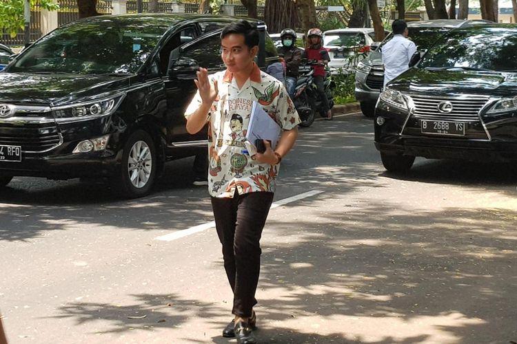 Gibran Rakabuming Raka saat tiba di kediaman Ketua Umum PDI-P Megawati Soekarnoputri di Jalan Teuku Umar, Menteng, Jakarta Pusat, Kamis (24/10/2019).