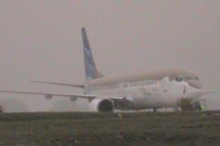 Kondisi pesawat di Bandara Adisumarmo, Surakarta, Jumat (14/2/2014).