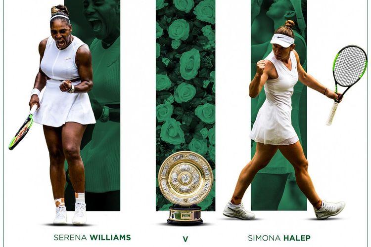 Serena Williams dan Simona Halep akan berhadapan pada final Wimbledon 2019, 13 Juli 2019.