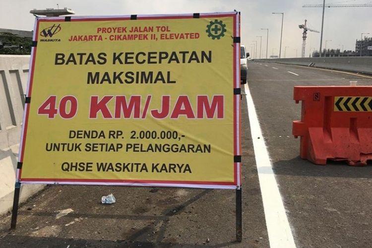 Batas kecepatan maksimal di Tol Layang Jakarta-Cikampek