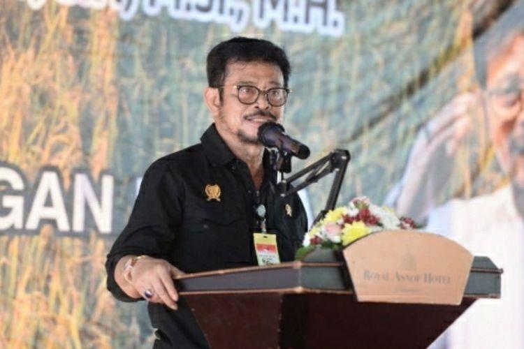Mentan Syahrul Yasin Limpo saat memberikan sambutan pada acara pelepasan ekspor komoditas pertanian di PT Bio Cycle Indo, Jalan Garuda Sakti, Kabupaten Kampar, Riau, Jumat (4/12/2020).