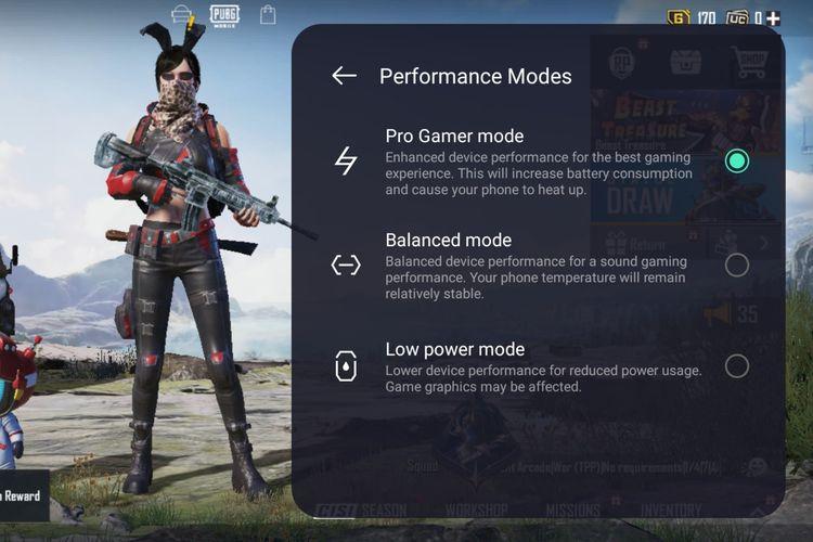 Tiga mode kinerja yang tersedia di ruang permainan adalah Mode Daya Rendah, Mode Keseimbangan, dan Mode Game Pro.