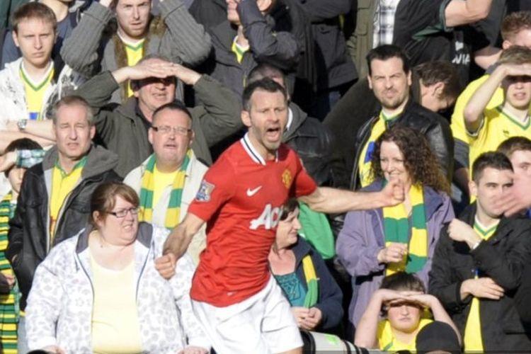 Ryan Giggs saat merayakan gol penentu kemenangan Man United atas Norwich City, 26 Februari 2012.