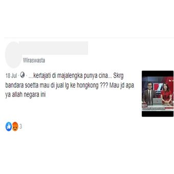 Tangkapan layar yang menyebutkan Bandara Soekarno Hatta dijual ke pihak asing.