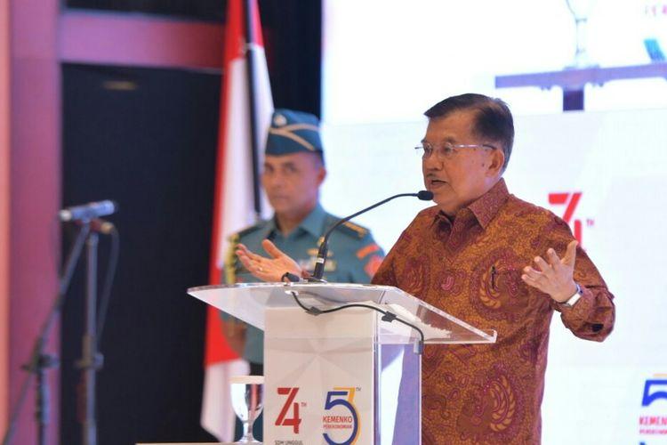 Wakil Presiden Jusuf Kalla di acara Seminar Nasioanal di Hotel Borobudur , Jakarta