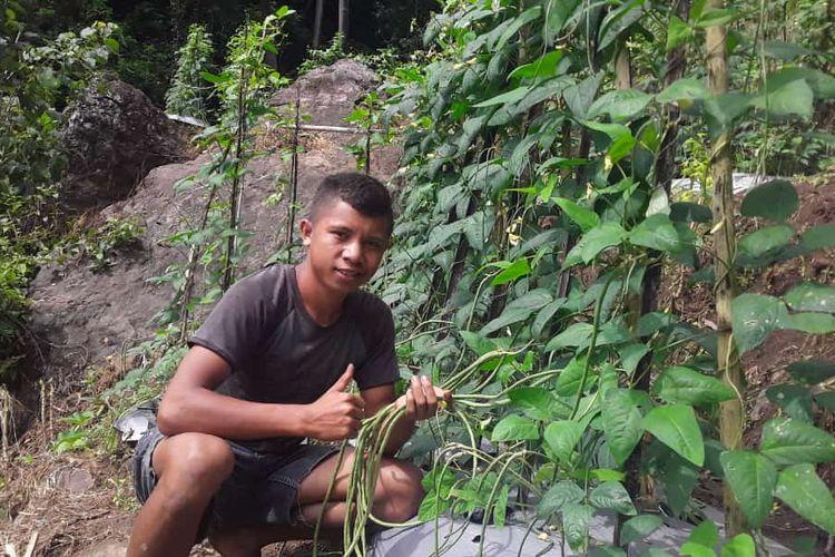 Foto : Yohanes Evan Demas, siswi kelas 3 di SMK Wae Ri'i, Kecamatan Ruteng, Kabupaten Manggarai, Flores, NTT, pose di lokasi sayurnya, Selasa (23/2/2020).