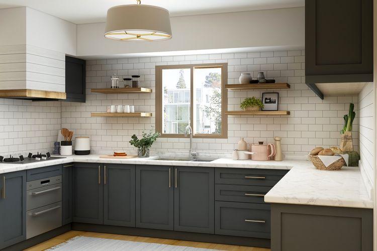 Ilustrasi dapur rumah bergaya pertanian modern