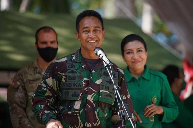 Kepala Staf Angkatan Darat (KSAD) Jenderal TNI Andika Perkasa meninjau langsung latihan gabungan Garuda Shield ke-15 Tahun 2021 antara TNI AD dan US Army di Makalisung, Minahasa Utara, Sulawesi Utara. Senin, (9/8/2021).
