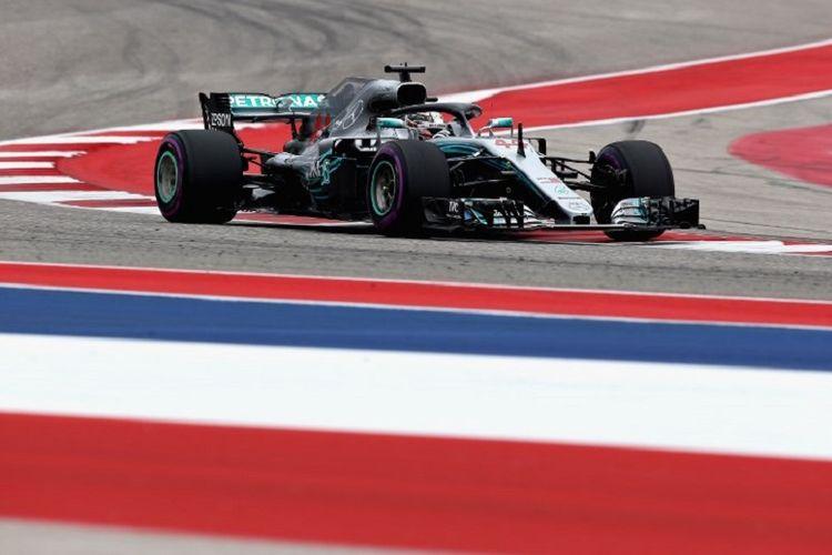 Lewis Hamilton menjalani latihan bebas pada GP Amerika di Austin, 20 Oktober 2018.