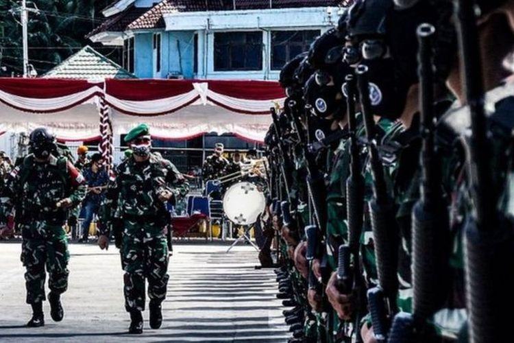 Sebanyak 500-an prajurit yang tergabung dalam Satuan Tugas (Satgas) Yonif Para Raider 432/Waspada Setia Jaya tiba di Kota Jayapura, 6 September 2020.