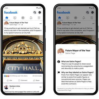 Tampilan label Satire Pages yang diuji coba Facebook terbatas di wilayah AS.