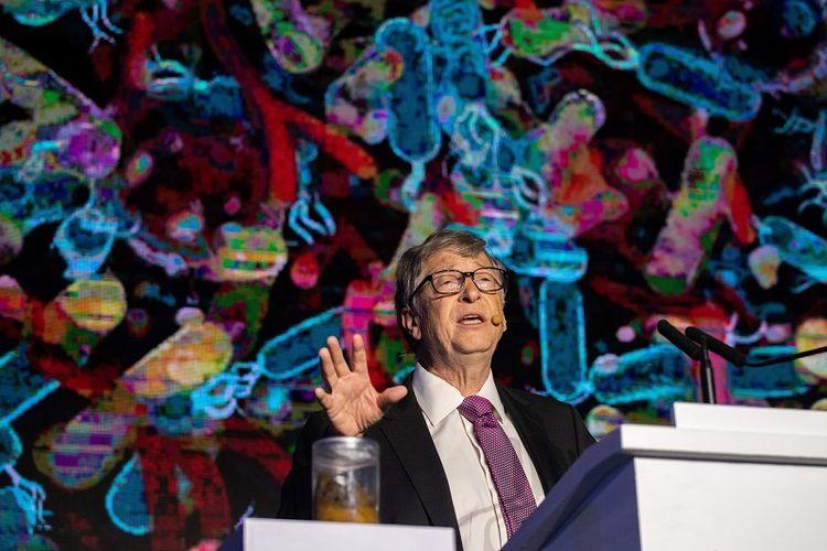 Pendiri Microsoft Bill Gates berbicara dalam ajang reinvented toilet expo di Beijing, China, Selasa (6/11/2018).