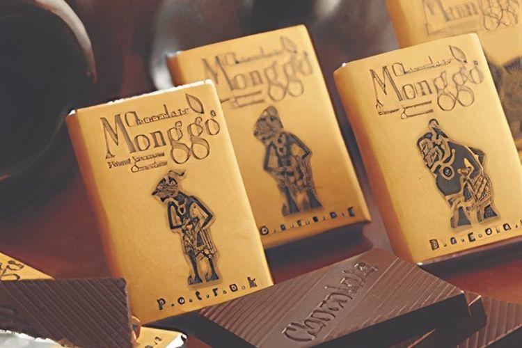 Ilustrasi merek cokelat lokal Indonesia, Cokelat Monggo asli Yogyakarta.