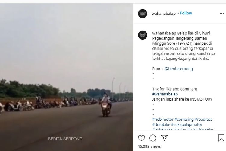 Aksi balap liar sepeda motor yang berujung pada terjadinya kecelakaan terjadi di kawasan Jalan Grand Boulevard BSD, Cihuni, Pagedangan, Tangerang.