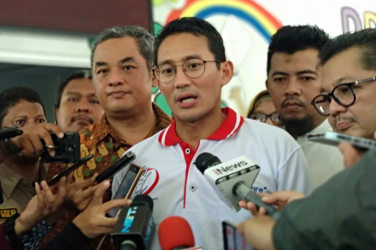 Wakil Gubernur DKI Jakarta Sandiaga Uno di RPTRA Pulo Gundul, Tanah Tinggi, Johar Baru, Jakarta Pusat, Sabtu (14/4/2018).