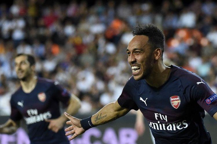 Pierre-Emerick Aubameyang mencetak hat-trick pada pertandingan Valencia vs Arsenal dalam semifinal kedua Liga Europa di Stadion Mestalla, 9 Mei 2019.