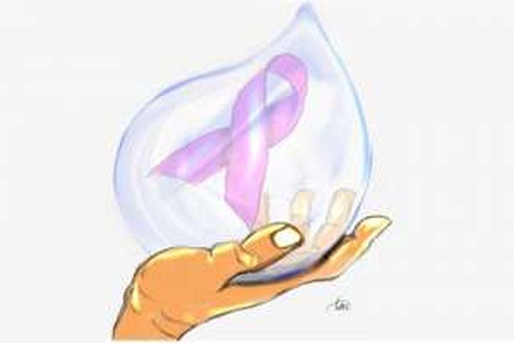 Ilustrasi dukungan/perhatian terhadap kanker payudara, kelahiran usia lanjut, dan kanker pada anak-anak.