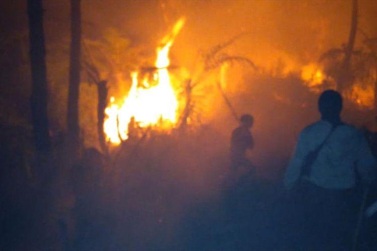Warga bersama pihak terkait memadamkan api yang membakar hutan di sebelah utara Desa Penanggunhan, Kecamatan Wanayasa, Kabupaten Banjarnegara, Jawa Tengah, Minggu (11/8/2019) malam.