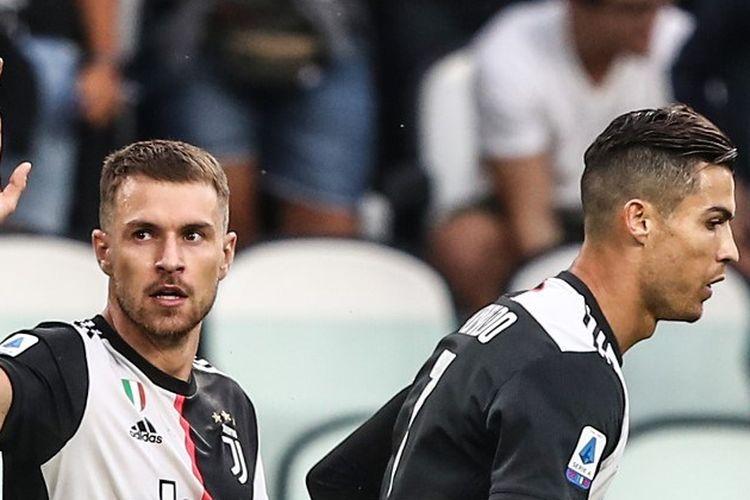 Aaron Ramsey merayakan golnya pada pertandingan Juventus vs Hellas Verona dalam lanjutan Liga Italia di Stadion Allianz, 21 September 2019.