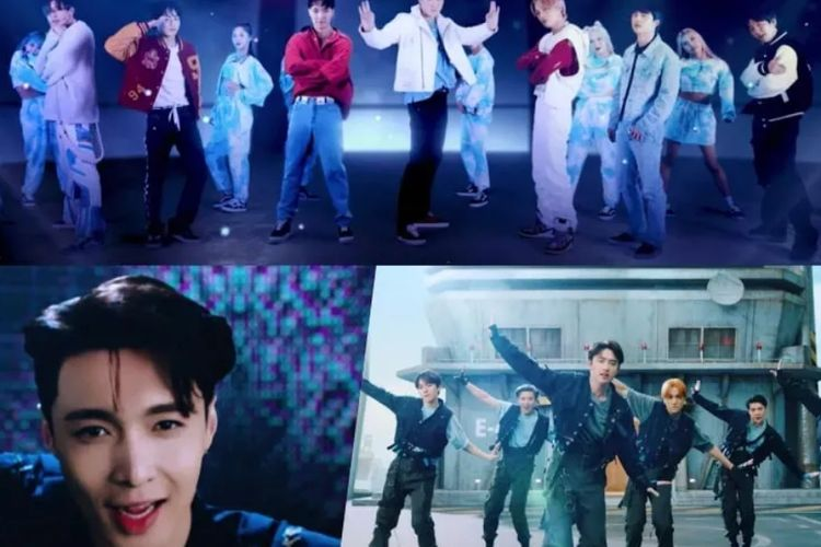 Boy group EXO dalam video musik Don't Fight The Feeling.
