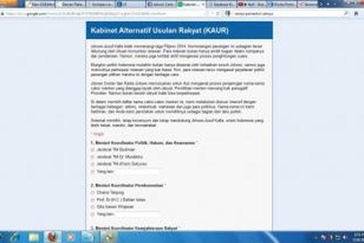 Kabinet Alternatif Usulan Rakyat (KAUR) yang diunggah di akun Facebook