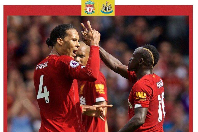 Virgil van Dijk merayakan gol Sadio Mane pada pertandingan Liverpool vs Newcastle United dalam lanjutan Liga Inggris di Stadion Anfield, 14 September 2019.