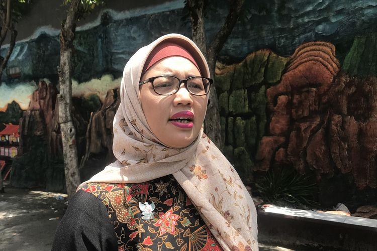 Komisioner Komisi Perlindungan Anak Indonesia (KPAI) Retno Listyarti mengunjungi SMP Maha Prajna, Cilincing, Jakarta Utara, Rabu (27/3/2019).